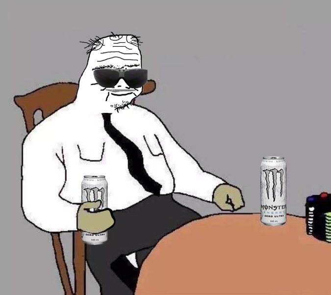 boomer drinking monsters table