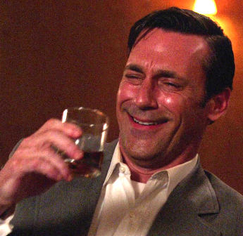 don draper drunk laughing