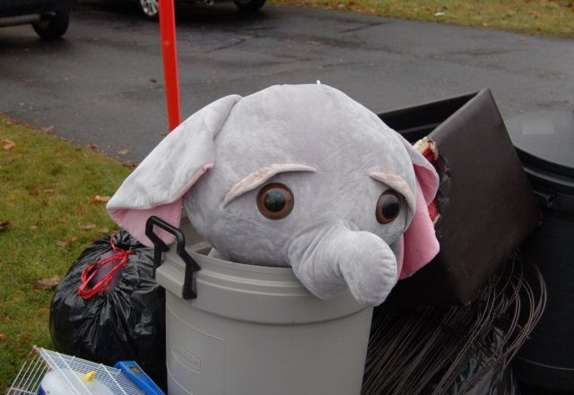 elephant plush trash