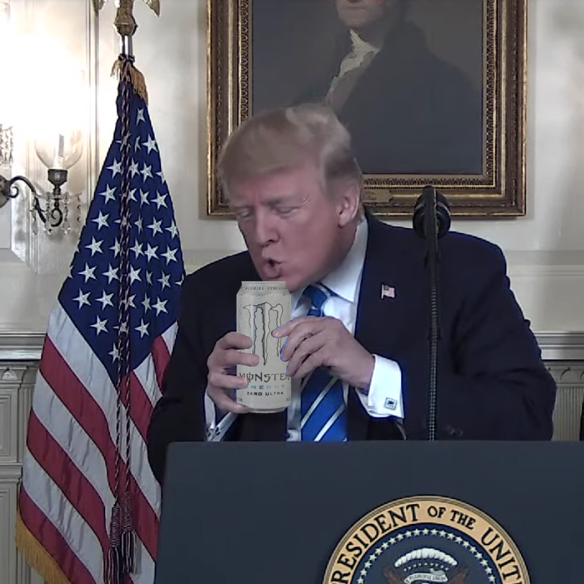 trump drinks monster