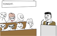 brainlet audience speaker meme template