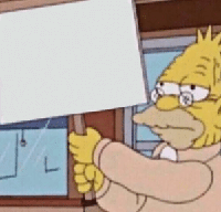 old man simpson holding sign meme template