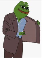 pepe opening coat selling meme template